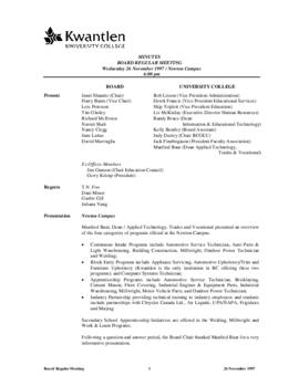 Minutes of the Board Regular Meeting - 26 November 1997