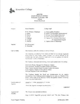 Minutes of the Board Regular Meeting - 22 November 1989