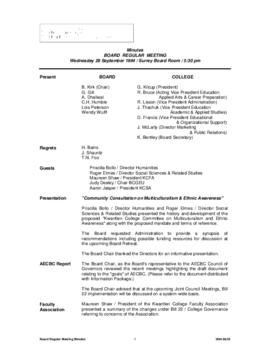 Minutes of the Board Regular Meeting - 28 September 1994