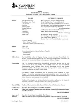 Minutes of the Board Regular Meeting - 23 October 1996
