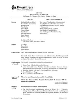 Minutes of the Board Regular Meeting - 25 February 1998