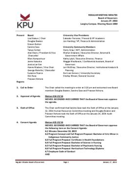 Minutes of the Board Regular Meeting - 27 January 2016