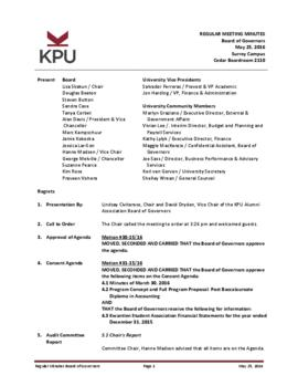 Minutes of the Board Regular Meeting - 25 May 2016