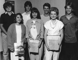 Students with Calendar and 1986 Fall Schedule