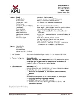 Minutes of the Board Regular Meeting - 21 November 2018