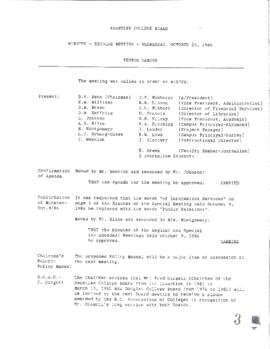 Minutes - Regular Meeting - October 29, 1986