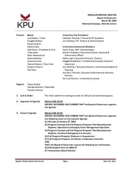 Minutes of the Board Regular Meeting - 30 March 2016