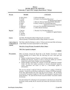 Minutes of the Board Regular Meeting - 27 April 1994