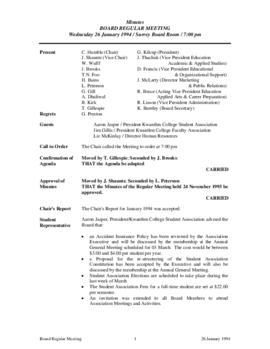 Minutes of the Board Regular Meeting - 26 January 1994