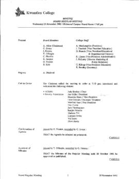 Minutes of the Board Regular Meeting - 25 November 1992