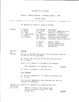 Minutes - Regular Meeting - March 1, 1984